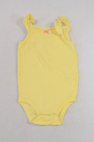 Carter's Bright Yellow Stripe Pink Bow Baby Grow Girls 18-24 months