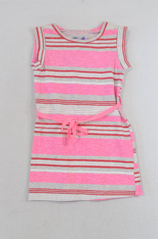 Cotton On Lumo Pink & Red Stripe Tie Dress Girls 12-18 months