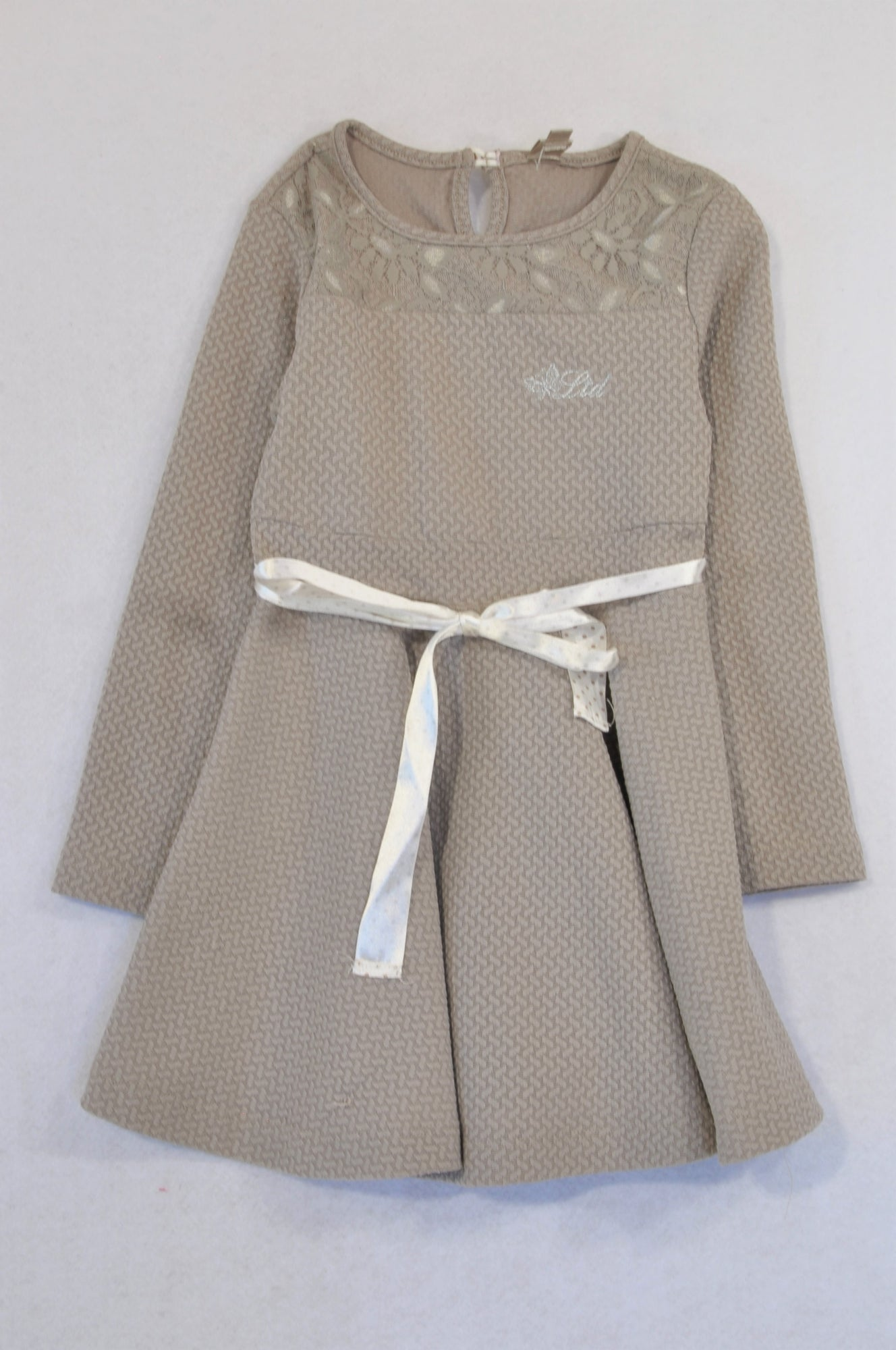 Truworths Brown Textured Lace Neckline Tie Dress Girls 5-6 years