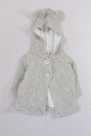 Cotton On Grey Knit Hooded Bear Ear Jacket Unisex 0-3 months