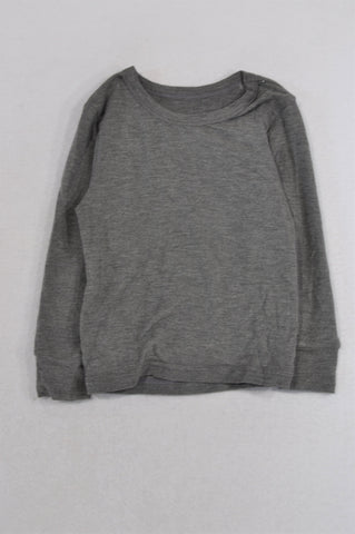 Woolworths Grey Cuffed Thermal T-shirt Girls 2-3 years