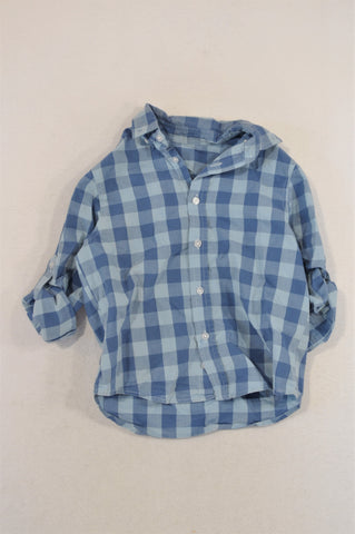 Woolworths Dusty & Light Blue Check Shirt Boys 4-5 years