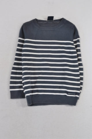 Earthchild Navy & White Stripe Knit Jersey Girls 2-3 years