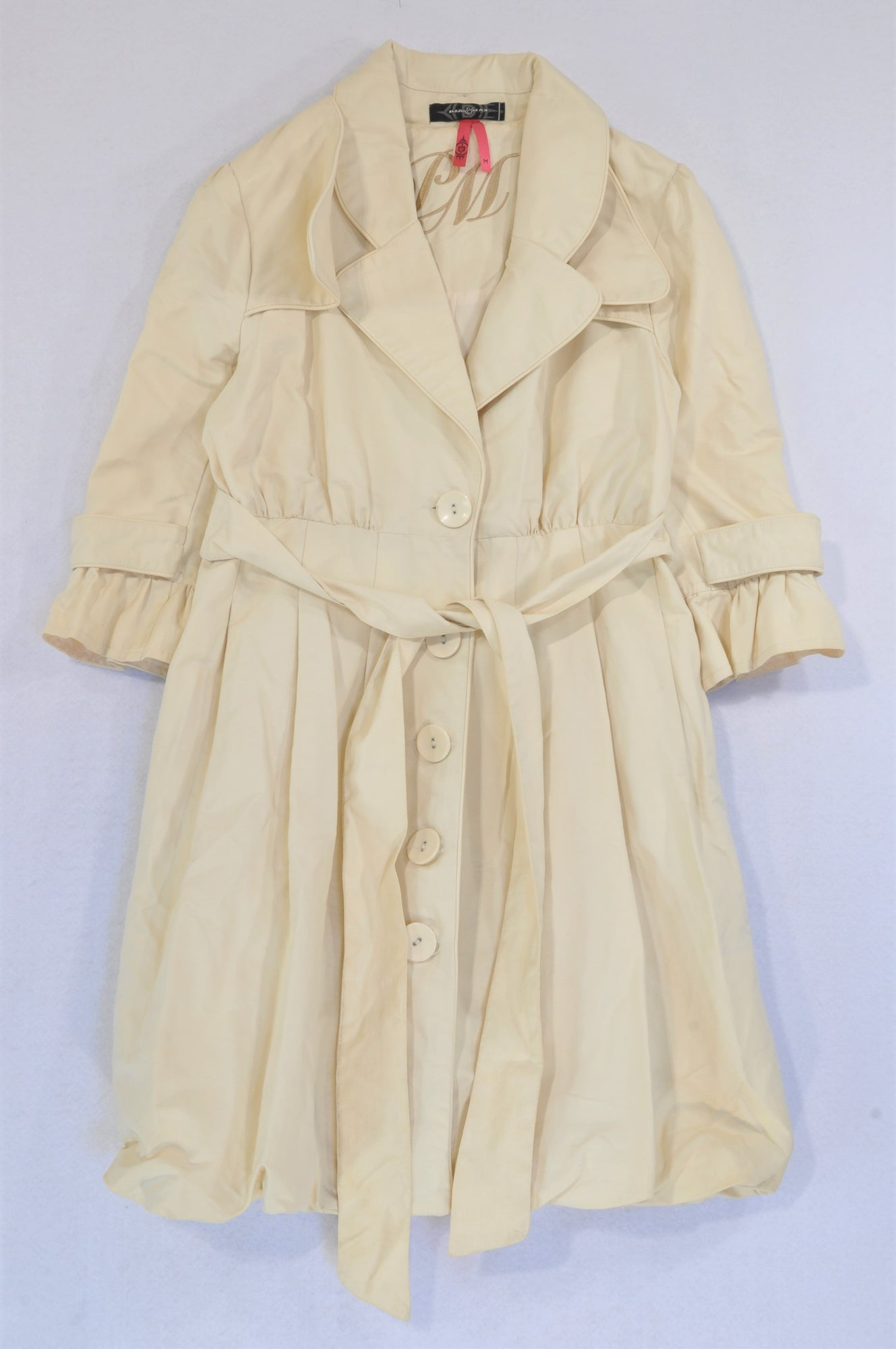 YDE Beige Buckle Tie Coat Women Size M