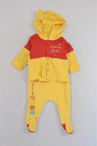 Woolworths Yellow & Red Pooh Bear Snap Cardigan Leggings Outfit Unisex N-B