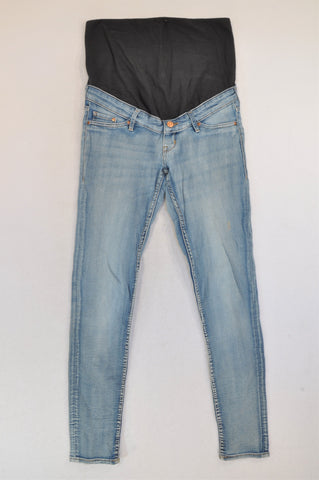 H&M Light Blue Navy Banded Super Skinny Maternity Jeans Women Size 8