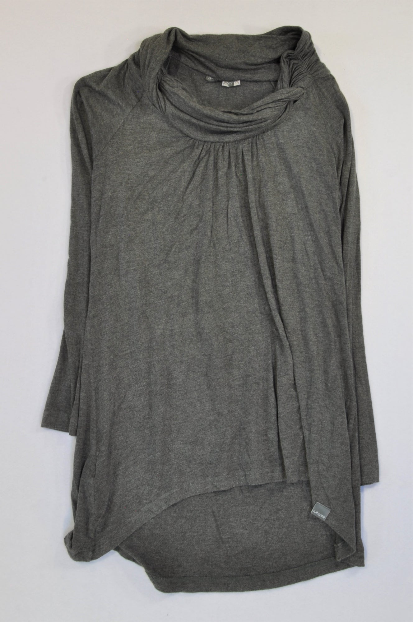 Ruthanne Grey High Neck Long Sleeve Top Women Size 34