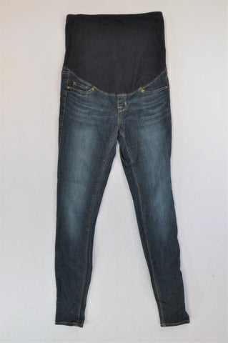 H&M Dark Wash Navy Banded Maternity Jeans Women Size 8