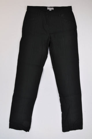 Queenspark Black Wide Leg Pants Women Size 10