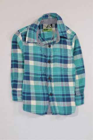 Waga Dude Blue & White Button Up Shirt Boys 2-3 years