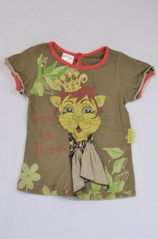 Hooligans Brown Cheetah Crown Red Trim T-shirt Girls 1-2 years