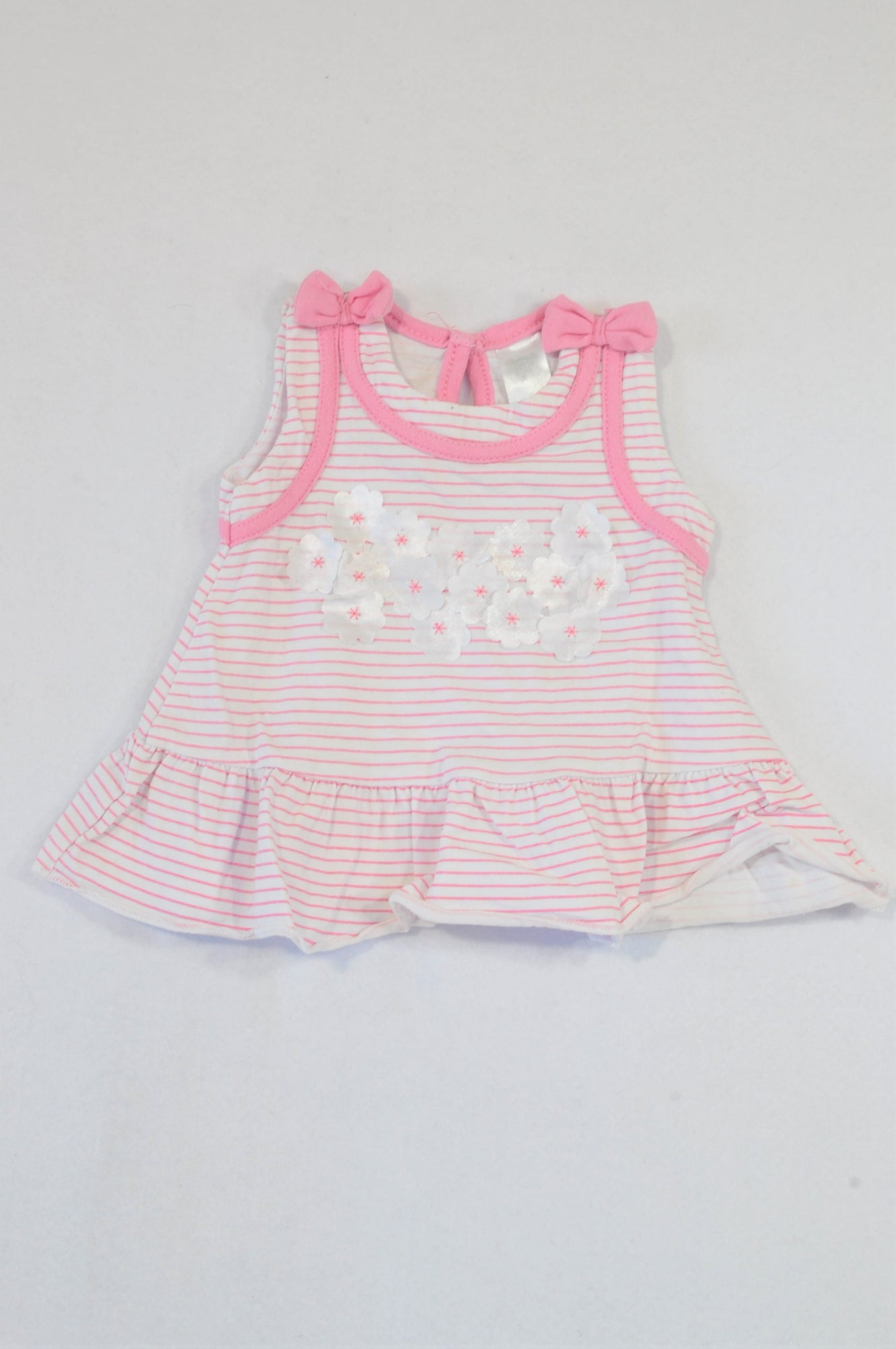Unbranded Pink Stripe Flower Baby Doll Top Girls 0-3 months
