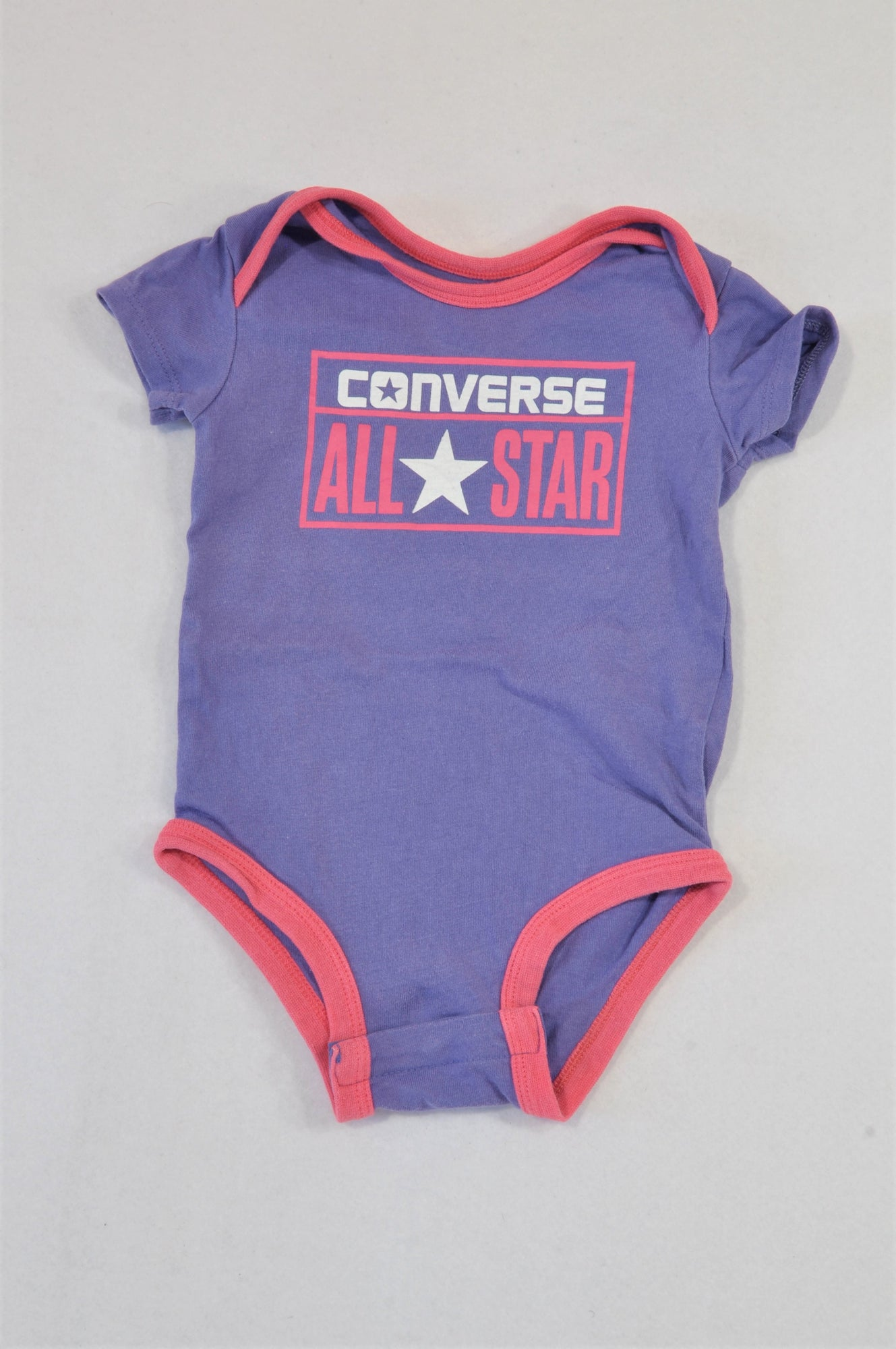 All Stars Purple Converse Pink Trim Baby Grow Girls 3-6 months