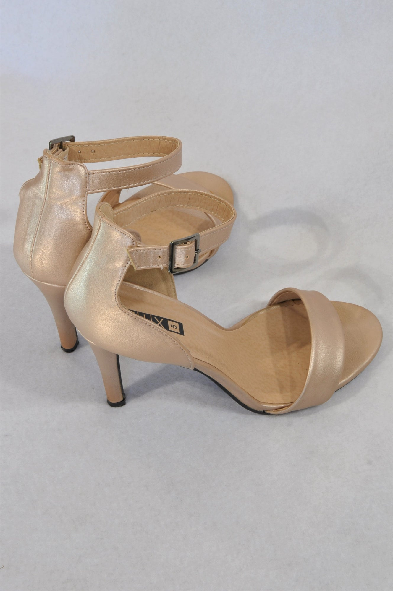 The Fix Size 5 Champagne Pleather Strap Heel Shoes Women Size 5