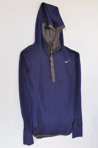 Nike Dark Purple Lightweight Hooded Sportswear Top Women Size XS