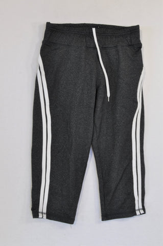 Cotton On Charcoal & White Side Stripe Drawstring 3/4 Sportswear Leggings Women Size 4