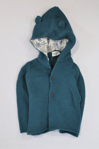Real Baby Teal Knit Button Up Hooded Jacket Unisex 12-18 months