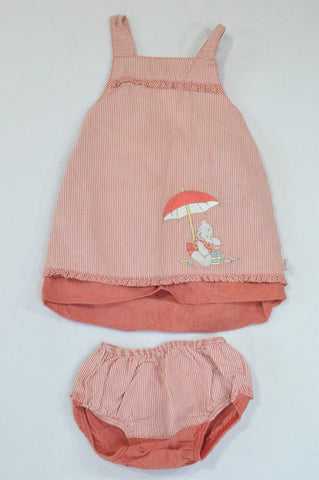 Humphrey's Corner Red & White Thin Stripe Dungarees Dress & Bloomers Outfit Girls 6-9 months