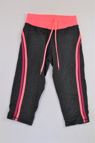 Cotton On Dark Grey & Neon Pink Band 3/4 Sportswear Leggings Women Size 4