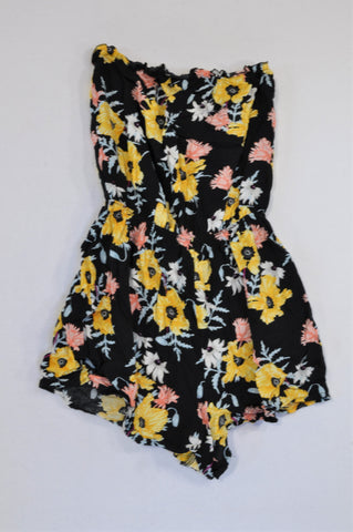 H&M Black & Yellow Flower Romper Women Size 4