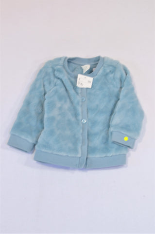 New H&M Light Blue Fleece Heart Button Up Cardigan Girls 4-6 months
