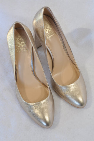 Vince Camuto Gold Shimmer Block Heel Shoes Women Size 6