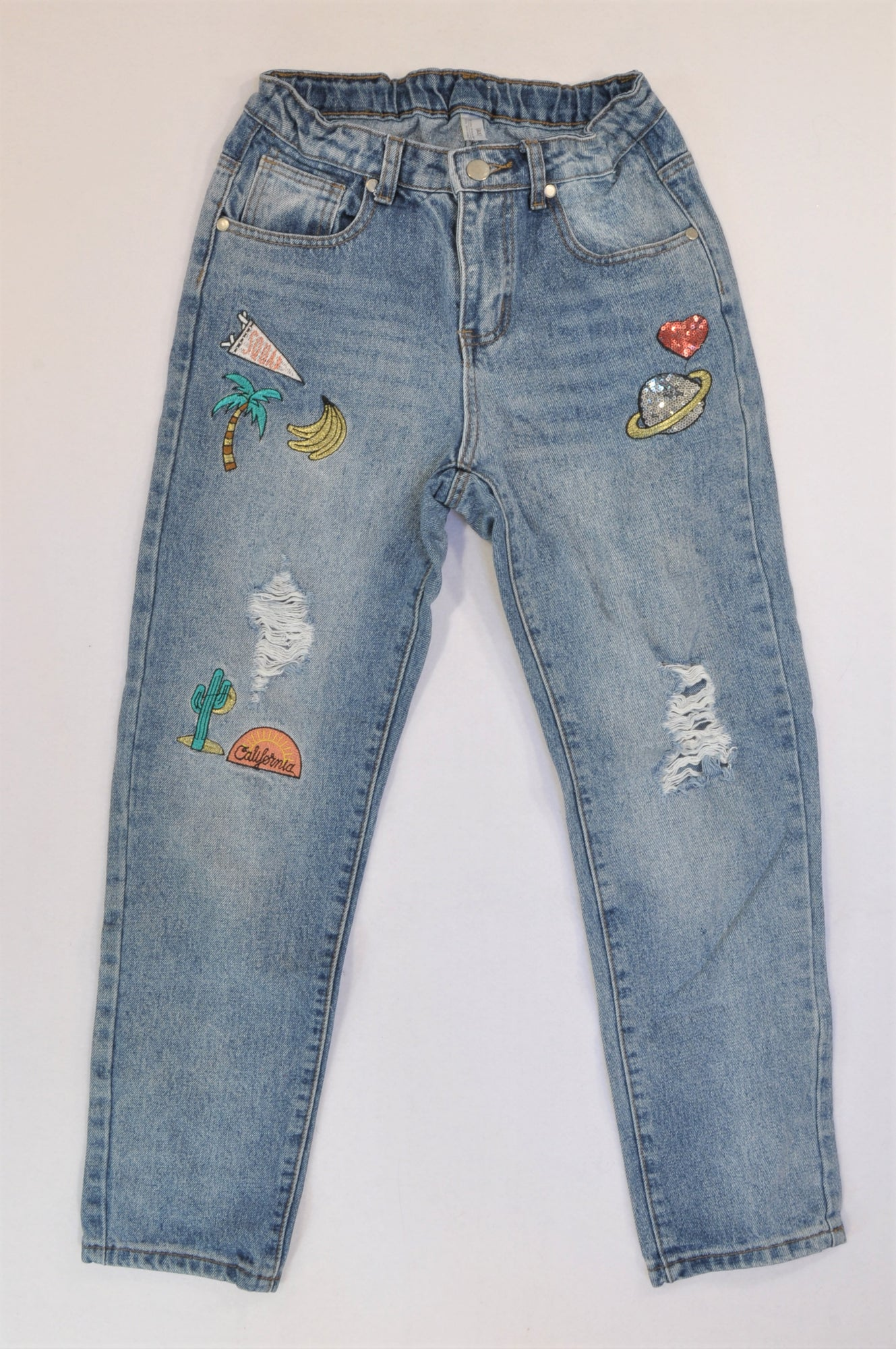 Woolworths Medium Wash Distressed California Patch Denim Jeans Girls 12-13 years