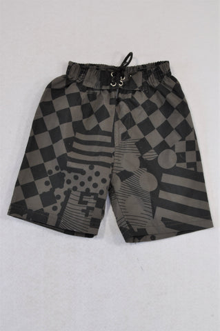 Ackermans Black & Grey Check Swim Shorts Boys 3-6 months