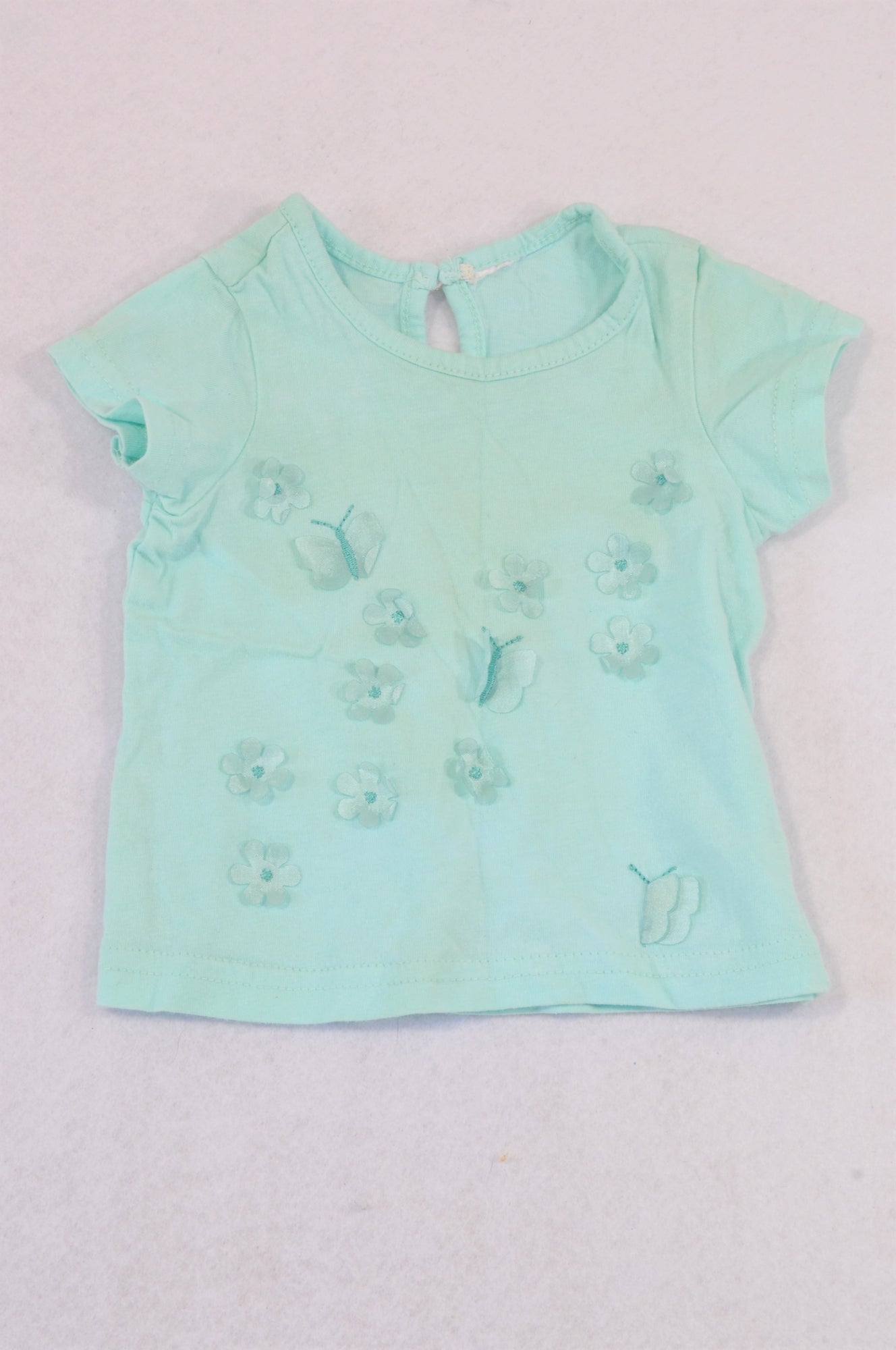 Unbranded Light Blue Butterfly T-shirt Girls 0-3 months