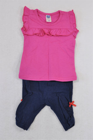 Ackermans Cerise Cap Sleeve Frill T-Shirt & Navy Cropped Leggings Outfit Girls 0-3 months