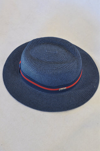 Miniso Navy Red Trim Straw Hat Women