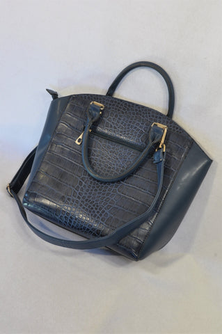 New Casablanca Navy Faux Snake Skin Handbag Women