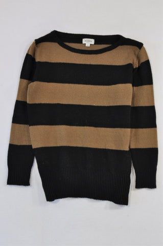 Unbranded Brown & Black Broad Stripe Knit Jersey Women