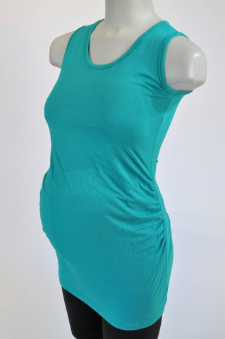 Absolute Maternity Teal Tank Longer Length Maternity Tank Top Size S