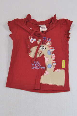 Hooligans Dark Red Frill Neck Embroidered Jolly Giraffe T-Shirt Girls 1-2 years