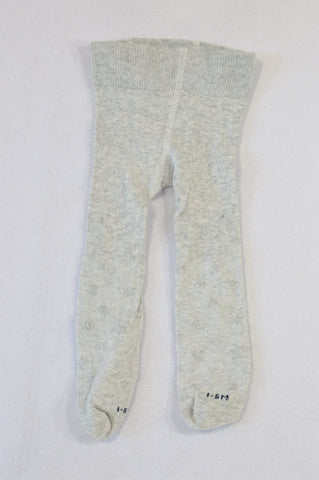 Woolworths Light Grey Knit Heart Stockings Unisex 0-6 months