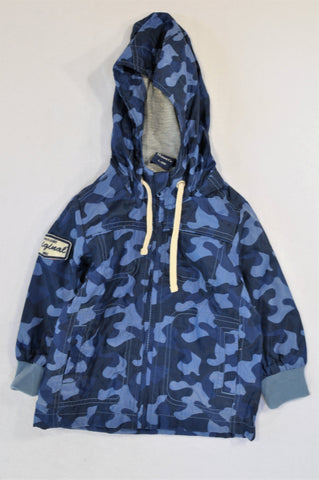 Mimo&Co Grey Lined Blue Camo Raincoat Boys 12-18 months
