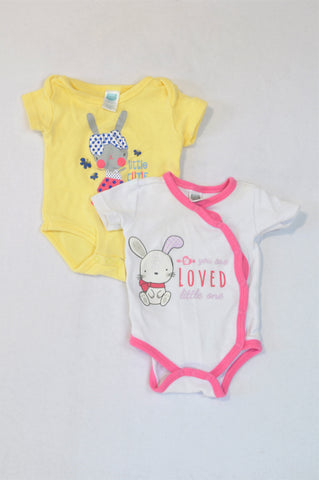 Ackermans 2 Pack Yellow White & Pink Bunny Baby Grows Girls N-B