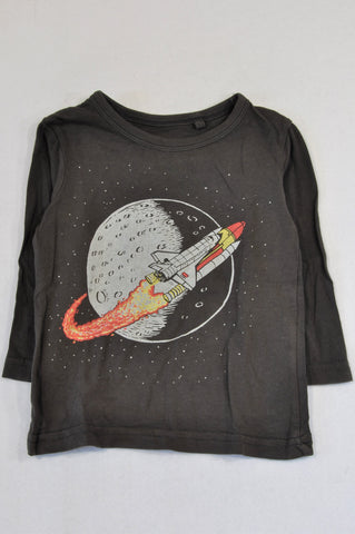 Cotton On Brown Long Sleeve Spaceship T-shirt Boys 12-18 months