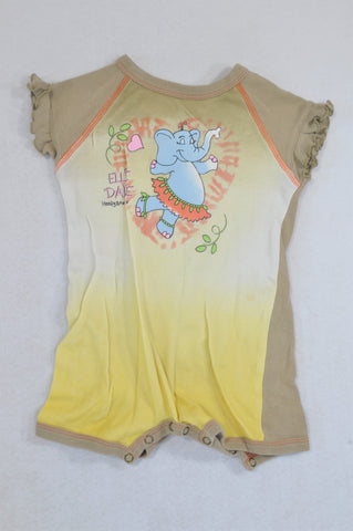 Hooligans Yellow Ombre Elephant Romper Girls 18-24 months