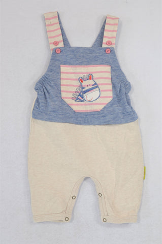 Hooligans Beige & Navy Thin Stripe Embroidered Zebra Pocket Dungarees Girls 12-18 months