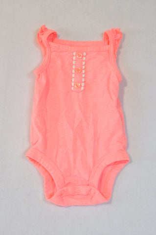 Carter's Neon Pink Heathered Frill Strap Baby Grow Girls 0-3 months