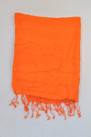 Unbranded Bright Orange Tassle Scarf Women