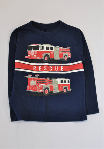GAP Navy Fire Truck T-shirt Boys 4-5 years