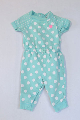 Carter's Teal & White Polkdot Onesie Girls 6-9 months