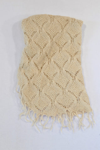 H&M Beige & Gold Knit Crochet Tassel Poncho Girls 7-14 years