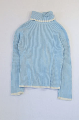Unbranded Light Blue White Trim Polar Neck Top Unisex 4-5 years