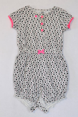 Carter's Pink Trim Black Penguin Romper Girls 6-9 months