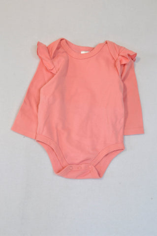 Clicks Pink Frill Sleeve Baby Grow Girls 3-6 months