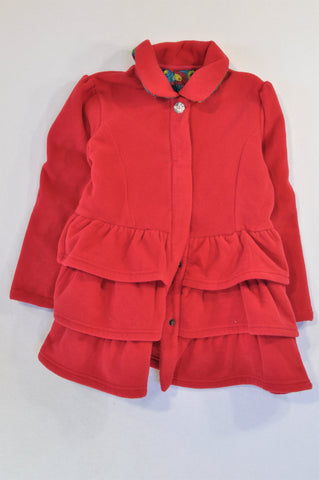 Woolworths Cerise Fleece Tiered Ruffle Coat Girls 7-8 years